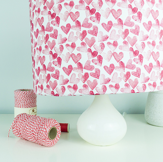 Red heart lampshade (c) Ella Johnston www.ellasplace.co.uk