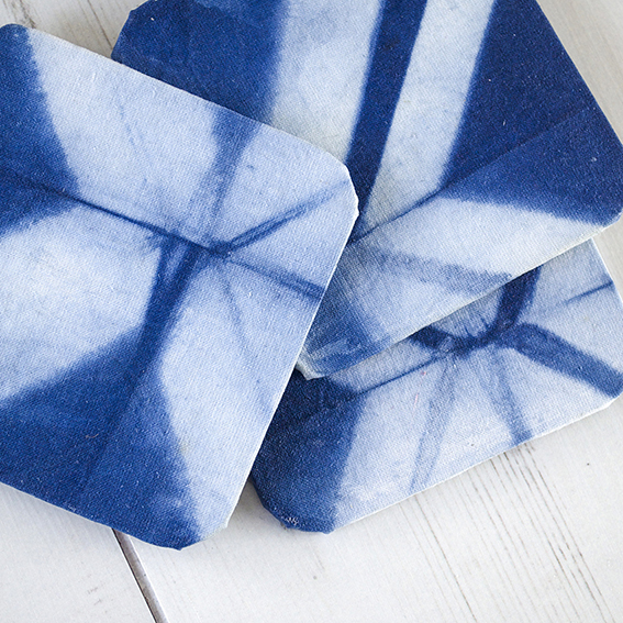 Shibori fabric coasters (c) Ella Johnston ellasplace.co.uk
