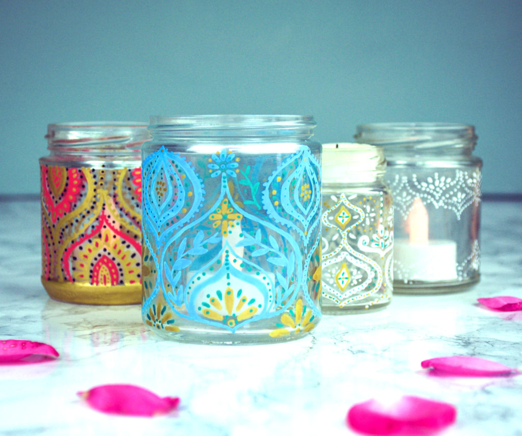 Jam Jar votives for Posca Multi-craft pack. Project design and illustration by Ella Johnston. Photography by Ella Johnston
