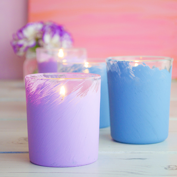Pastel Painted Candle Votives (c) ellasplace.co.uk