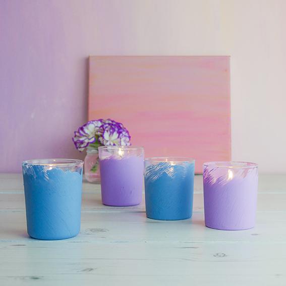 Pastel Painted Candle Votives (c) ellasplace.co.uk