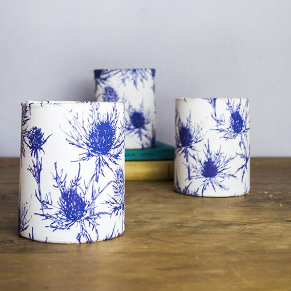 Homemade lanterns with thistle fabric ellasplace.co.uk