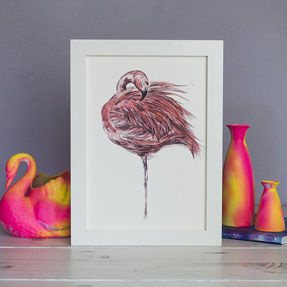 Flamingo Print by Ella Johnston ellasplace.co.uk