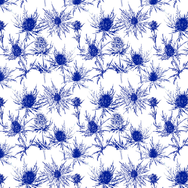 Thistle Pattern indigo and white (c) Ella Johnston