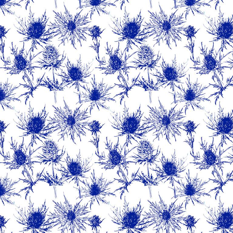 Thistle Pattern indigo and white (c) Ella Johnston