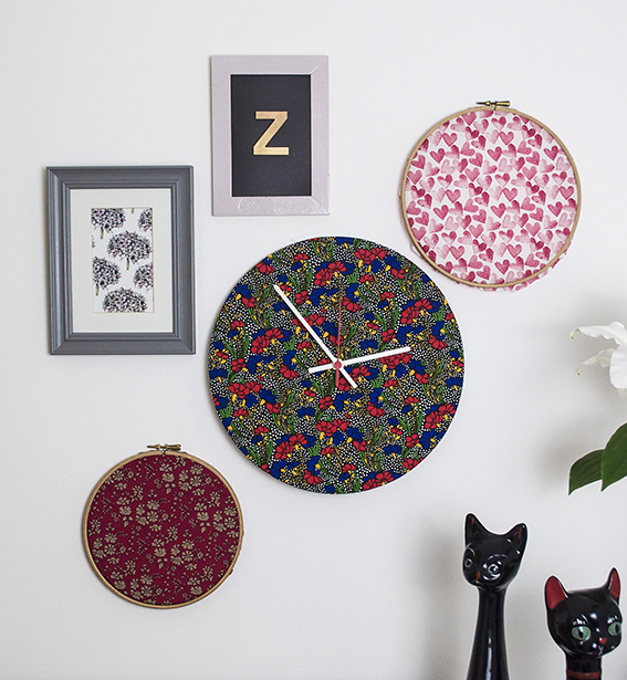 Liberty print clocks. ellasplace.co.uk