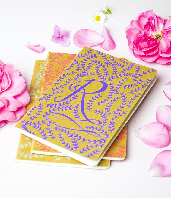 Monogramed Notebooks with Posca Pens ellasplace.co.uk