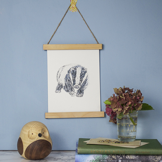 Badger print from Not On The High Street ellasplace.co.uk