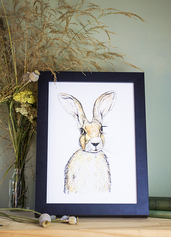 Hare print Not On The High Street ellasplace.co.uk