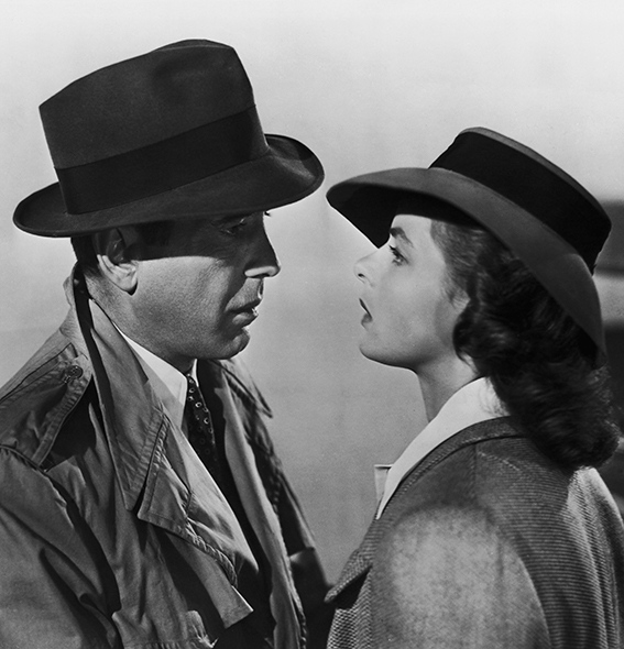Humphrey Bogart (1899 - 1957) and Ingrid Bergman (1915 - 1982) star in the Warner Brothers film 'Casablanca', 1942. (Photo by Popperfoto/Getty Images)