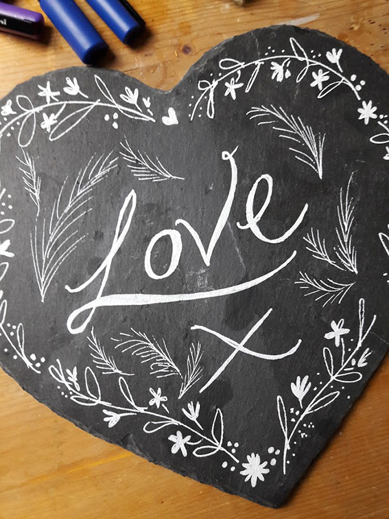 Love slate heart craft Ella Johnston