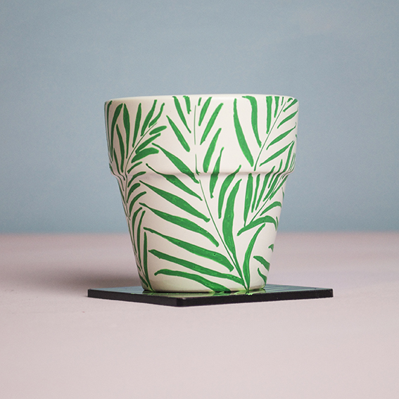 Leaf plant pot and coaster (c) Ella Johnston