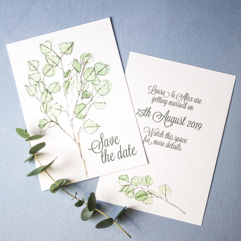 Eucalyptus Wedding Invitation (c) Ella Johnston