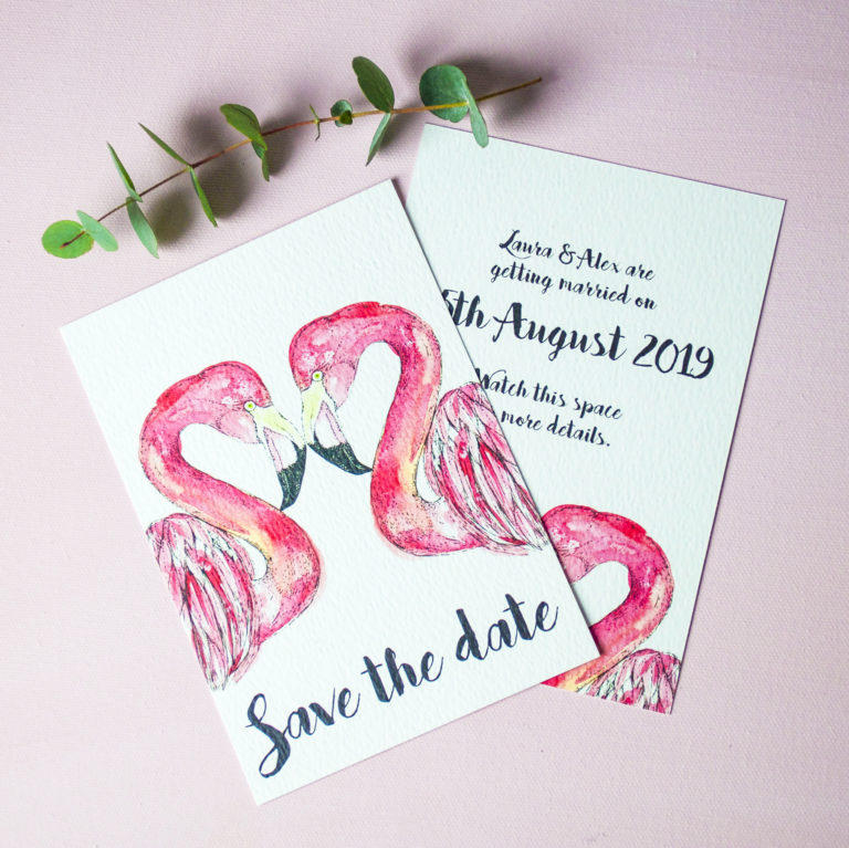Flamingos Wedding Invitation (c) Ella Johnston