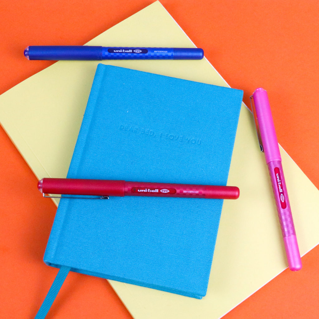 Uni-ball Eye pens colour stationery story Styling and photography: Ella Johnston