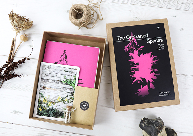 The Orphaned Spaces box set. Featuring postcards, hand-stitched books, seeds, reliquary, archival prints.