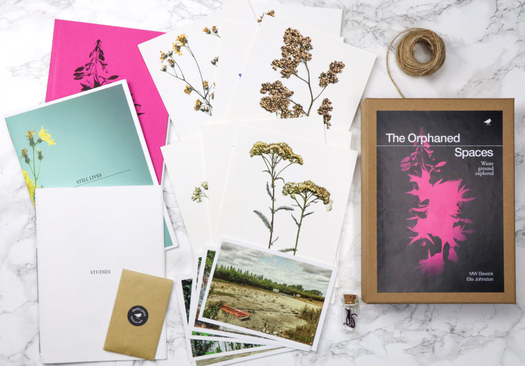 The Orphaned Spaces box set includes three individually hand-stitched books and archival prints plus seeds and reliquary
