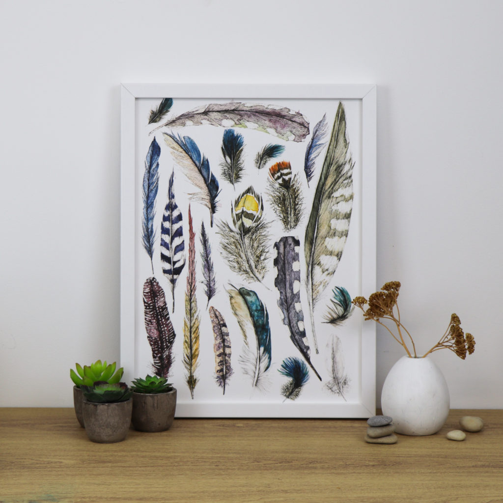A3 Feather print, Ella Johnston