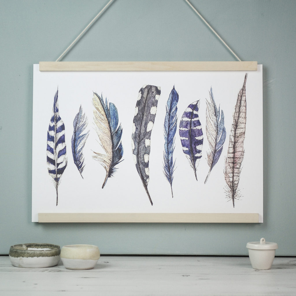 Blue wild feather print Ella Johnston