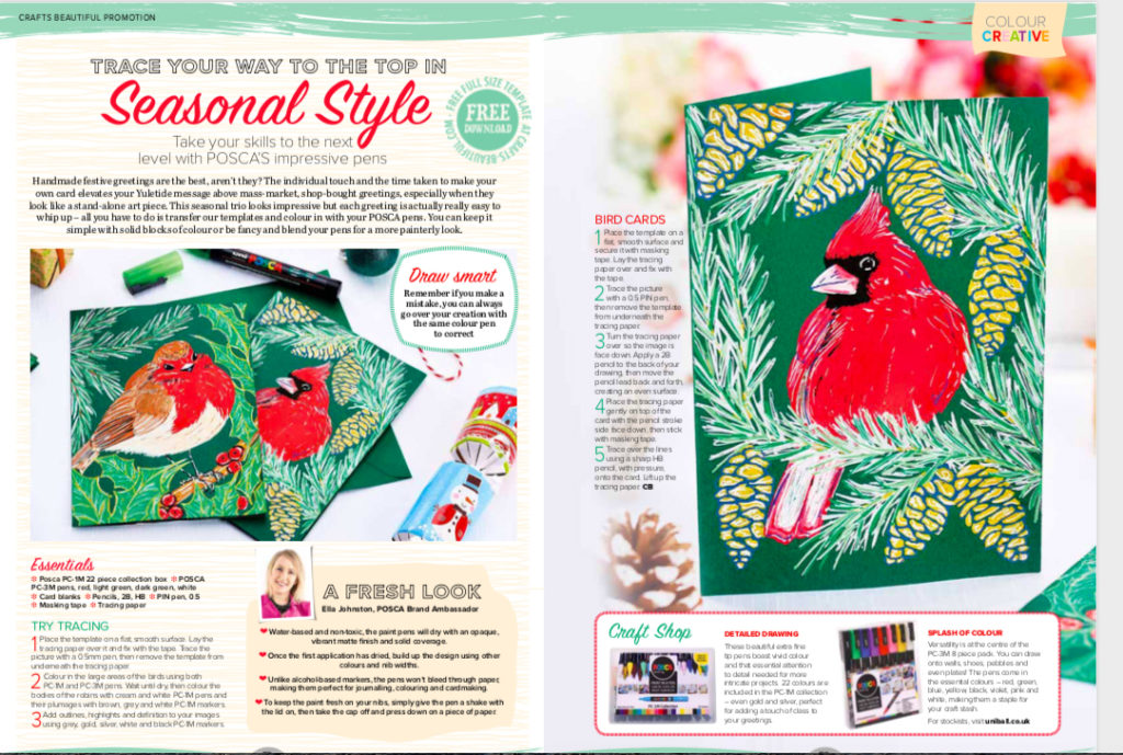 Christmas Card designs with POSCA pens by Ella Johnston for Crafts Beautiful