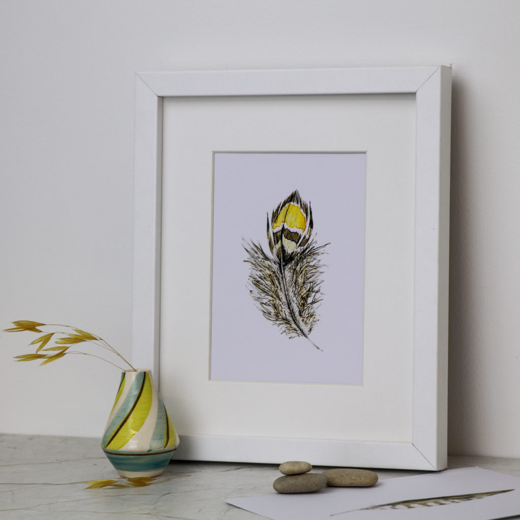 A5 Yellow Feather print, Ella Johnston