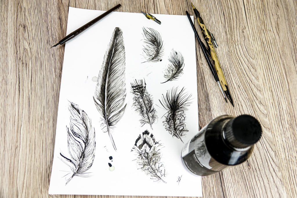 Ink feathers
