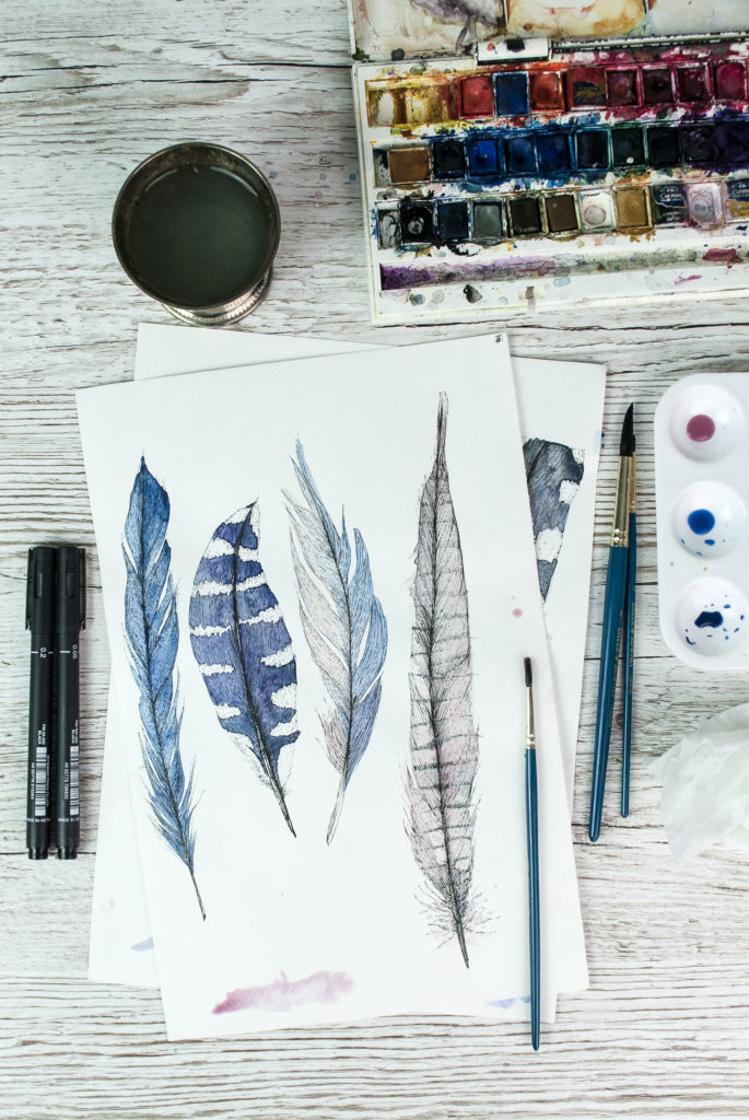 Blue watercolour feathers, work in progress