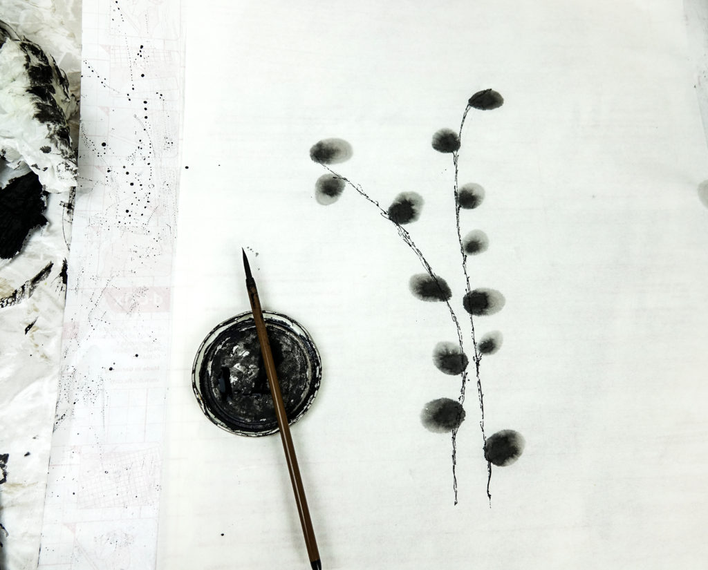 Ella Johnston Studio Sumi artwork work in progress