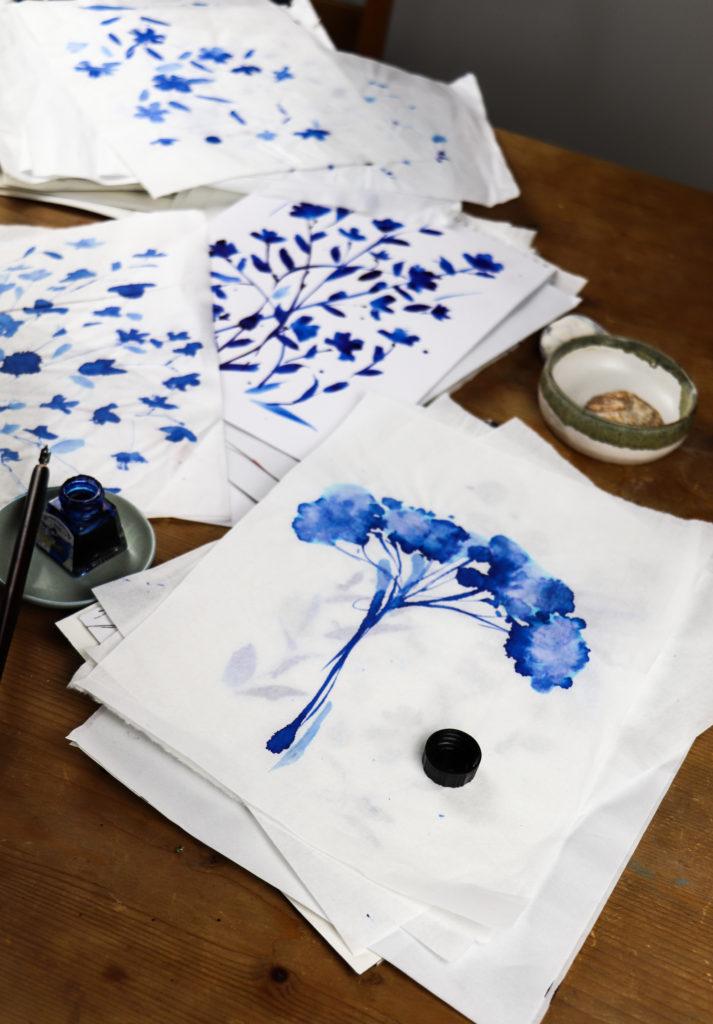 Ella Johnston Studio. Ink work on sumi and Arches watercolour paper