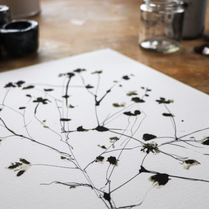Wild blossom ink drawing print, Ella Johnston