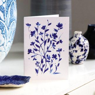Blue ink blossom greeting card Ella Johnston