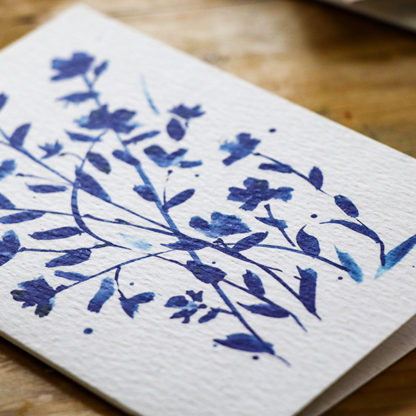 Blue ink blossom greeting card Ella Johnston