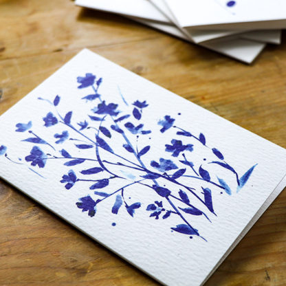 Blue ink blossom greeting card from Ella Johnston