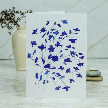 Blue bouquet floral card by Ella Johnston