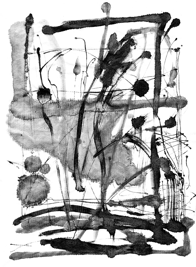 PORT PIECES: Abstract Ink landscape, Indian ink on sumi rice paper, Ella Johnston