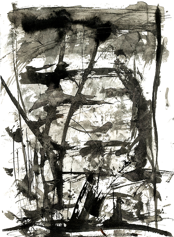 PORT PIECES: Abstract Ink landscape, Indian ink on Arches watercolour paper, Ella Johnston