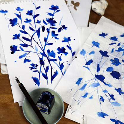 Original blue blossom ink drawings by Ella Johnston