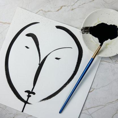 Original visage ink drawing