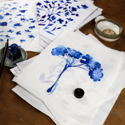 Blue achillea A3 fine art print, Ella Johnston, work in progress