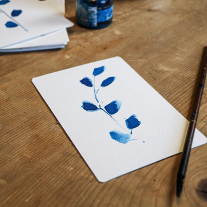 Blue leaves, hand-painted postcard, Ella Johnston