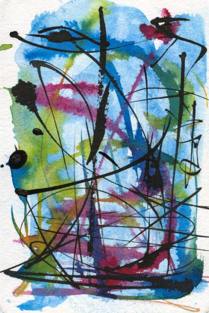 Remembered landscape, hand painted postcard Ella Johnston