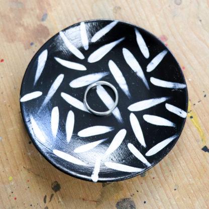 Mono hand-painted brush stroke trinket dish