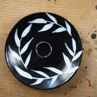 hand-painted mono trinket dish, Ella Johnston