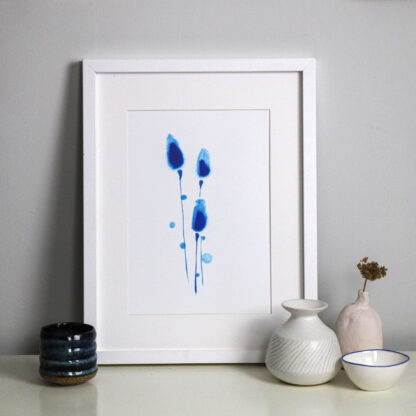 Blue buds original A4 fine art print, Ella Johnston