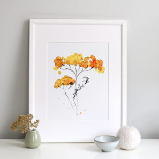 Yellow Achillea A4 fine art print, Ella Johnston