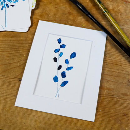 Blue goat willow, hand painted postcard