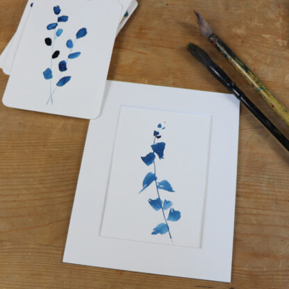 Blue eucalyptus, hand-painted postcard