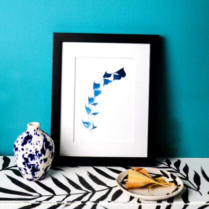 Blue sprig, ink on paper. Hand-painted postcard Ella Johnston