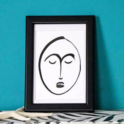 inky faces, ink on card, Ella Johnston
