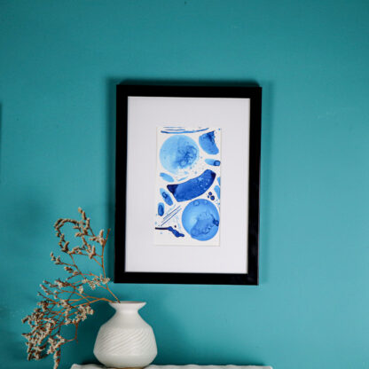 Blue Happiness, ink on watercolour paper. Ella Johnston
